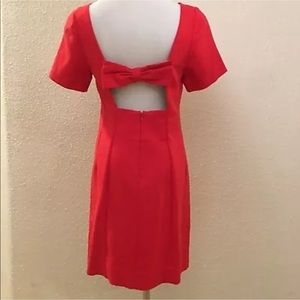 Maeve Anthropologie red bow back dress